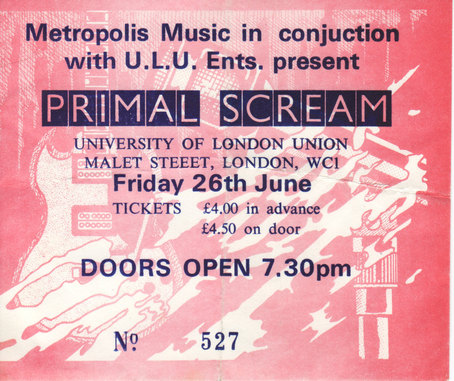 Poster for Primal Scream live with Loop and Phil Wilson at University of London Union (ULU), London, 26 June 1987